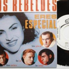 Discos de vinilo: LOS REBELDES- ERES ESPECIAL- SINGLE PROMO 1985- COMO NUEVO.. Lote 72754823