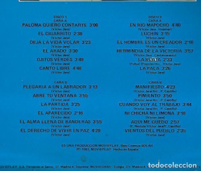 Discos de vinilo: DOBLE LP VICTOR JARA (EL CIGARRITO, CANTO LIBRE, ABRE TU VENTANA, EL ARADO, ETC) - Foto 2 - 72923991