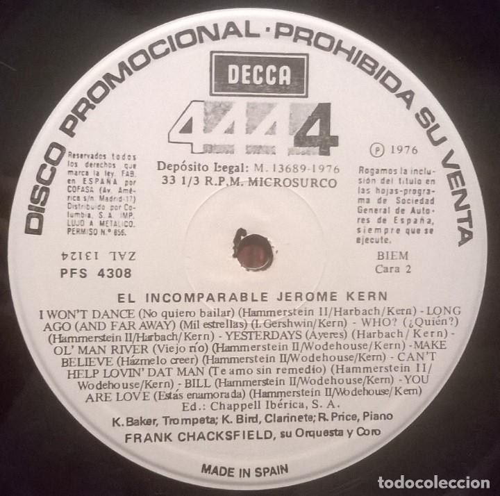 Discos de vinilo: Frank Chacksfield Orquesta Y Coro-El Incomparable Jerome Kern, Decca-PFS 4308 - Foto 3 - 72952751
