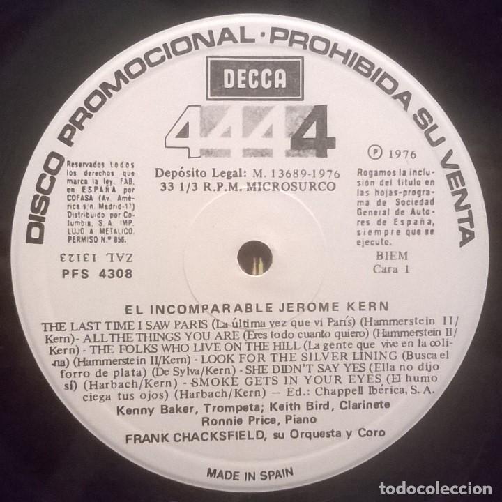 Discos de vinilo: Frank Chacksfield Orquesta Y Coro-El Incomparable Jerome Kern, Decca-PFS 4308 - Foto 4 - 72952751