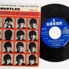 Discos de vinilo: BEATLES EP QUE NOCHE LA DE AQUEL DÍA-A HARD DAYS NIGHT RARO LABEL ED.ESPAÑOLA. Lote 72974663