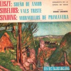 Discos de vinilo: LISZT: SUEÑO DE AMOR / SIBELIUS: VALS TRISTE / SINDING: MURMULLOS DE PRIMAVERA - EP BELTER. Lote 73081907