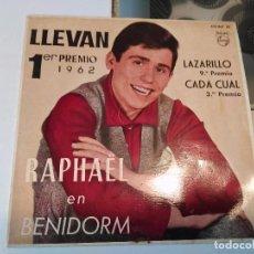 Discos de vinilo: RAPHAEL EN BENIDORM. LLEVAN;LARAZILLO;CADA CUAL;INMENSIDAD RF-8638. Lote 73424539