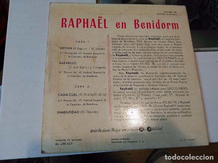 Discos de vinilo: RAPHAEL EN BENIDORM. LLEVAN;LARAZILLO;CADA CUAL;INMENSIDAD RF-8638 - Foto 2 - 73424539