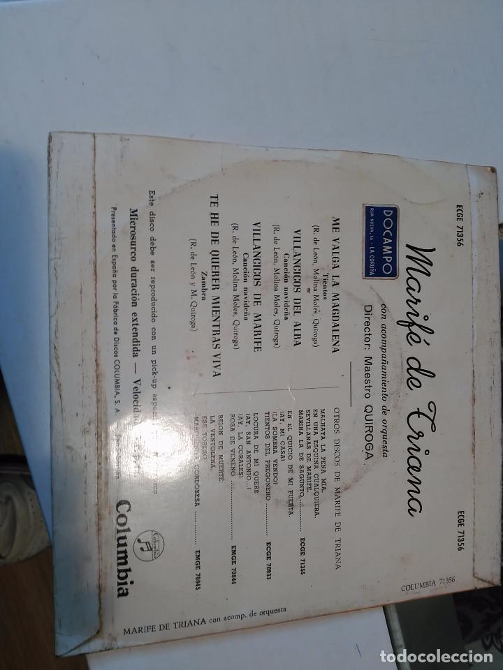 Discos de vinilo: MARIFE DE TRIANA EP COLUMBIA 1960 me valga la magdalena/ villancicos del alba/ villancicos de marife - Foto 2 - 73425051
