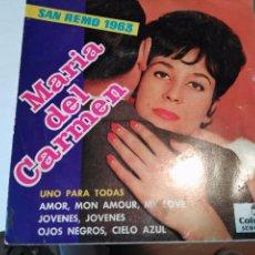 Discos de vinilo: DISCO MARIA DEL CARMEN (EP) UNO PARA TODAS SAN REMO AÑO 1963 - EDICION PROMOCIONAL. Lote 221398832