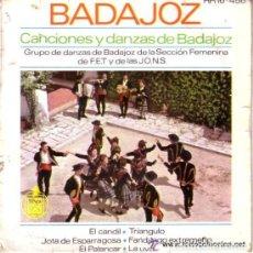 Discos de vinilo: BADAJOZ EP DE 6 TEMAS CANCIONES Y DANZAS SECCION FEMENINA DE F.E.T. Y DE LAS JONS. Lote 73446883