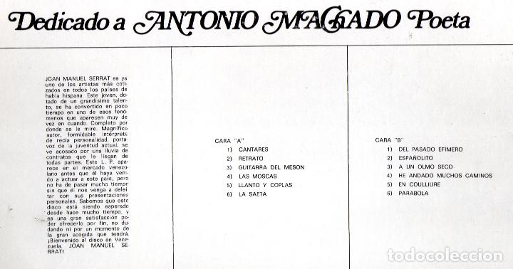 Discos de vinilo: JOAN MANUEL SERRAT - LP VINILO 12 - Editado en VENEZUELA - DEDICADO A ANTONIO MACHADO POETA - Foto 3 - 73455775