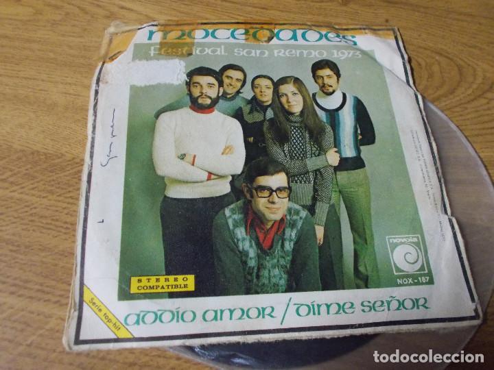 Discos de vinilo: MOCEDADES. FESTIVAL SAN REMO 1973. ADDIO AMOR. DIME SEÑOR. - Foto 2 - 73581867