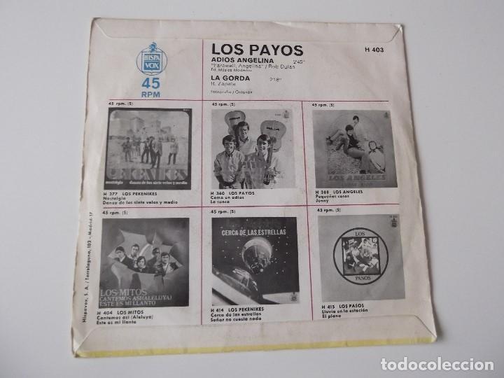 Discos de vinilo: LOS PAYOS - Adiós Angelina - Foto 2 - 73638991