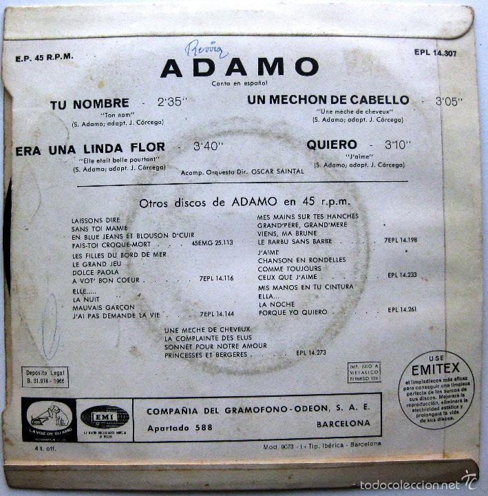Discos de vinilo: Adamo - Tu Nombre +3 - EP La Voz De Su Amo 1966 BPY - Foto 2 - 74025775