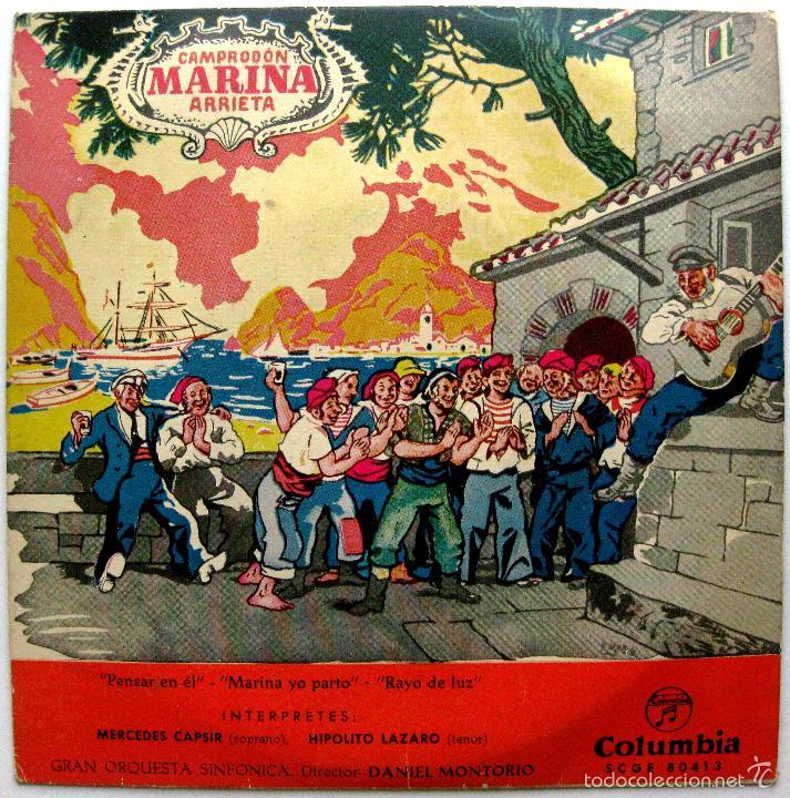 MERCEDES CAPSIR, HIPOLITO LAZARO - MARINA (CAMPRODON / ARRIETA) - EP COLUMBIA 1960 BPY (Música - Discos de Vinilo - EPs - Clásica, Ópera, Zarzuela y Marchas)