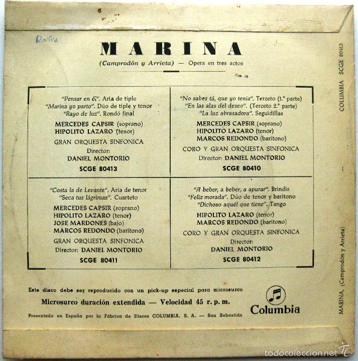 Discos de vinilo: Mercedes Capsir, Hipolito Lazaro - Marina (Camprodon / Arrieta) - EP Columbia 1960 BPY - Foto 2 - 74027179