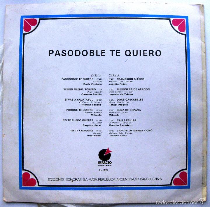 Discos de vinilo: Varios (Carmen Sevilla, Juanita Reina, Maruja Lozano...) - Pasodoble Te Quiero - LP Impacto 1974 BPY - Foto 2 - 74187159