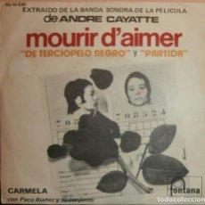 Discos de vinilo: CARMELA Y PACO IBAÑEZ - DE TERCIOPELO NEGRO / PARTIDA (SG). Lote 73026497