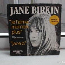 Discos de vinilo: SINGLE JANE BIRKIN. JE T'AIME...MOI NON PLUS - JANE B.. Lote 74343647
