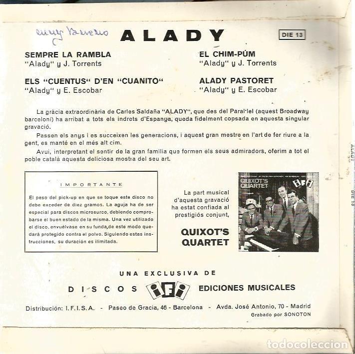 Discos de vinilo: EP ALADY & QUIXOT´S QUARTET : ALADY PASTORET ( DISCOS IFI, 1964) - Foto 2 - 74689191