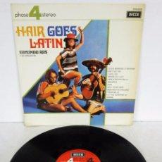Disques de vinyle: EDMUNDO ROS - HAIR GOES LATIN - LP - DECCA 4 PHASE 1970 SPAIN. Lote 74790903