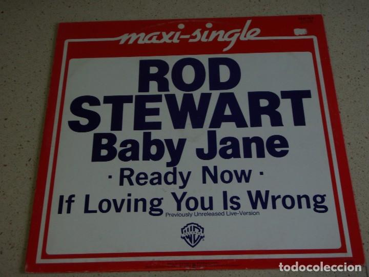Discos de vinilo: ROD STEWART ( BABY JANE - READY NOW - IF LOVING YOU IS WRONG ) GERMANY-1983 MAXI45 WARNER BROS - Foto 2 - 74841703