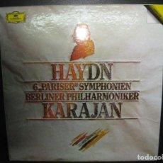 Discos de vinilo: HAYDN. 6 PARISER SYMPHONIEN. KARAJAN. 3 LP?S + LIBRETO.. Lote 74883519