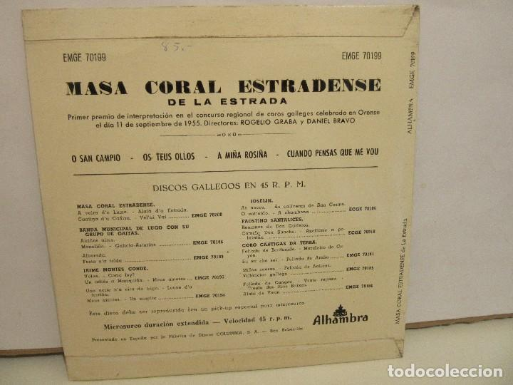 Discos de vinilo: Masa Coral Estradense De La Estrada - O San Campio +3 - EP -1962 - Alhambra - VG/VG+ - Foto 2 - 74978347