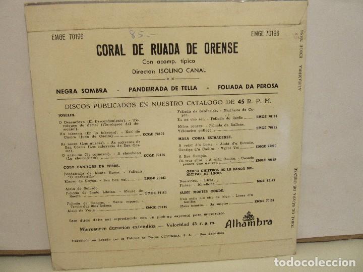 Discos de vinilo: Coral De Ruada De Orense - Negra Sombra + 2 - EP - 1962 - Alhambra - VG/VG+ - Foto 2 - 74979443