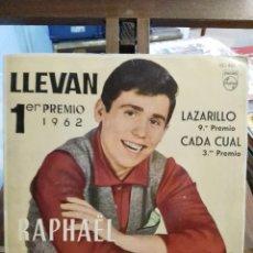 Disques de vinyle: RAPHAEL EN BENIDORM - 1ER PREMIO 1962 - LLEVAN / LAZARILLO / CADA CUAL / INMENSIDAD - EP.. Lote 74986503