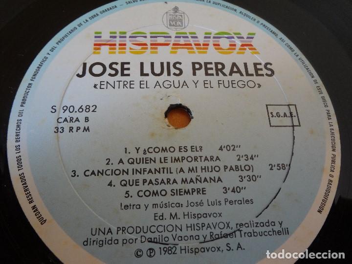 Discos de vinilo: DISCO -LP- VINILO JOSE LUIS PERALES ,ENTRE EL AGUA Y EL FUEGO - Foto 5 - 75076839