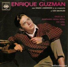 Discos de vinilo: ENRIQUE GUZMÁN CON LOS SALVAJES - EP VINILO 7'' - EDITADO EN MÉXICO - CELOS DE TI + 3 - CBS. Lote 75103035
