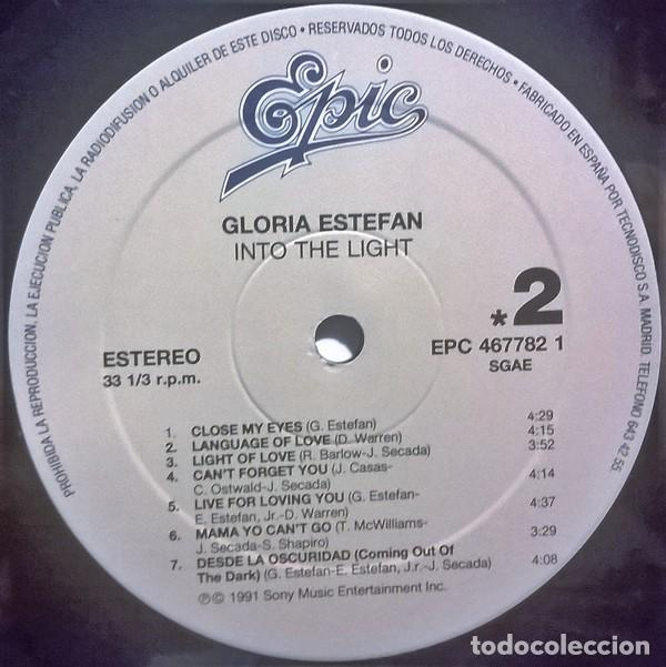 Discos de vinilo: Gloria Estefan-Into The Light, Epic-EPC 467782 1, Epic-467782 1 (SE) - Foto 4 - 75132911