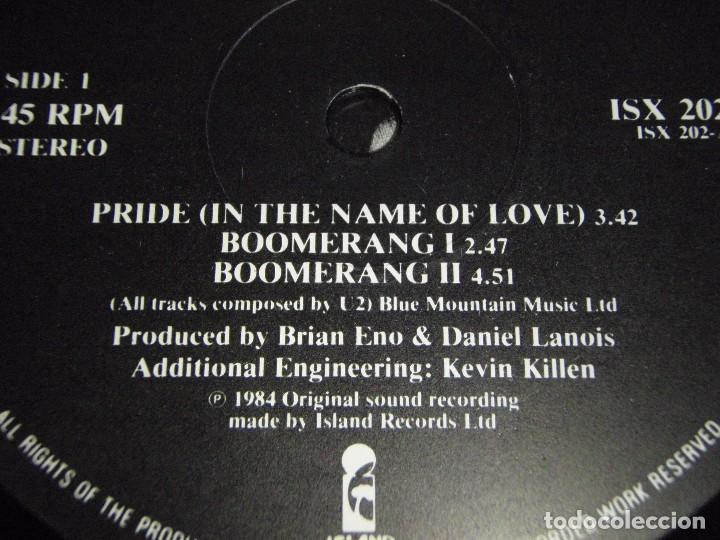 Discos de vinilo: U2 ( PRIDE - BOOMERANG I - BOOMERANG II - II OCLOCK TICK TOCK - TOUCH ) ENGLAND-1984 MAXI45 ISLAND - Foto 3 - 156899524