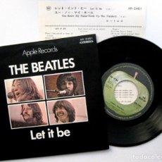 Discos de vinilo: THE BEATLES - LET IT BE - SINGLE APPLE RECORDS 1970 JAPAN (EDICIÓN JAPONESA) BPY - FIRST EDITION. Lote 75606055