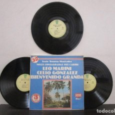 Discos de vinilo: LEO MARINI CELIO GONZALEZ BIENVENIDO GRANDA ALBUM #1 / 3LPS LP COSTA RICA T84 VG+ BUEN ESTADO. Lote 75618003