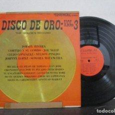 Discos de vinilo: EL DISCO DE ORO VOL.3 ISMAEL RIVERA CORTIJO COMBO JOE CELIO PINEDO JOHNNY LP T84 VG. Lote 75618811