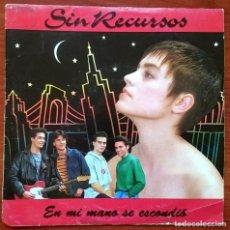 Discos de vinilo: SIN RECURSOS: EN MI MANO SE ESCONDIÓ, SINGLE PROMO EMI 006 1224417. SPAIN, 1991. VG+/VG. Lote 75684031