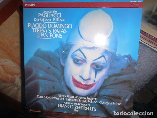 DOBLE DISCO DE VINILO LEONCAVALLO PAGLIACCI - PLACIDO DOMINGO, TERESA STRATAS, JUAN PONS (Música - Discos de Vinilo - Maxi Singles - Clásica, Ópera, Zarzuela y Marchas)