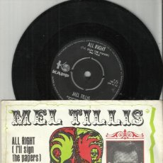 Discos de vinilo: MEL TILLIS ‎SINGLE ALL RIGHT (I'LL SIGN THE PAPERS / HELPESS, HOPELESS FOOL.HOLANDA. Lote 75754679