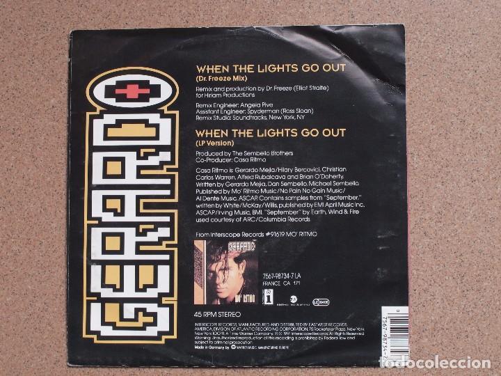 Discos de vinilo: GERARDO - WHEN THE LIGHTS GO OUT (DR.FREEZE MIX + LP VERSION) - Foto 2 - 75836871