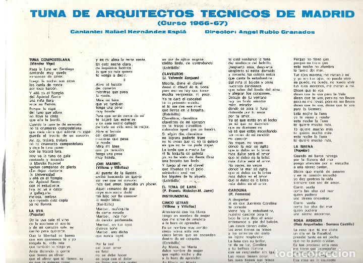 Discos de vinilo: VESIV LP TUNA DE ARQUITECTOS TECNICOS DE MADRID - Foto 2 - 75854603