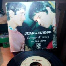 Discos de vinilo: JUA Y JUNIOR - TIEMPO DE AMOR / EN SAN JUAN - SINGLE 1968. Lote 76000091