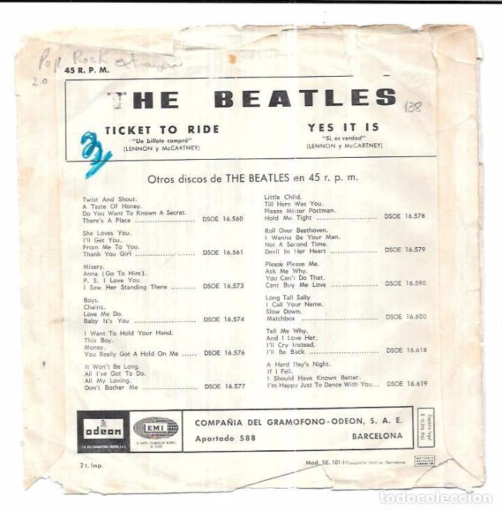 Discos de vinilo: SINGLE. THE BEATLES. TICKET TO RIDE. YES IT IS. LENNON Y MCCARTNEY. - Foto 3 - 58106509