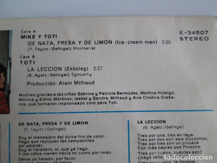 Discos de vinilo: MIKE Y TOTI. DE NATA, FRESA Y DE LIMON. DISCO VINILO. VER FOTOGRAFIAS ADJUNTAS - Foto 5 - 76187035