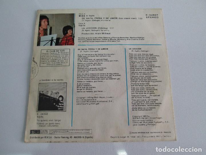 Discos de vinilo: MIKE Y TOTI. DE NATA, FRESA Y DE LIMON. DISCO VINILO. VER FOTOGRAFIAS ADJUNTAS - Foto 6 - 76187035