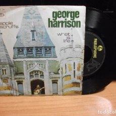 Discos de vinilo: GEORGE HARRISON APPLE SCRUFFS/WHAT IS LIFE SINGLE PORTUGAL PDELUXE . Lote 76201387