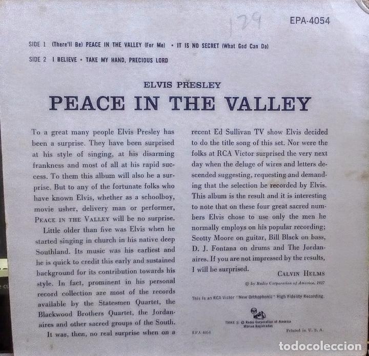 Discos de vinilo: ELVIS PRESLEY - PEACE IN THE VALLEY (ORIGINAL USA 1958) (EPA-4054) - Foto 5 - 76237395
