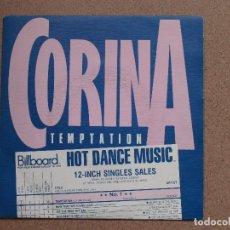 Discos de vinilo: CORINA - TEMPTATION - DISCO PROMOCIONAL DE UNA SOLA CARA. Lote 76408763