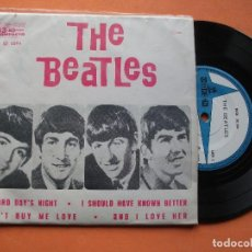 Discos de vinilo: THE BEATLES A HARD DAYS NIGHT + 3 EP BRASIL 1965 PDELUXE. Lote 76632635