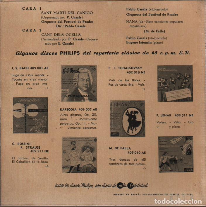 Discos de vinilo: raro disco del festival de prades - pablo casals sant marti canigo - cant del ocells philips 409 008 - Foto 2 - 76696935