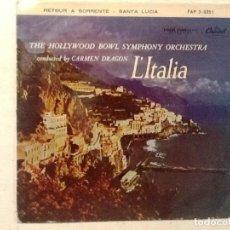 Discos de vinilo: THE HOLLYWOOD BOWL SYNPHONY ORCHESTRA CARMEN DRAGON L'ITALIA . Lote 76709383