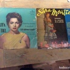 Discos de vinilo: LOTE 2 VINILOS. SARITA MONTIEL. EL ÚLTIMO CUPLÉ. LA VIOLETERA. Lote 76713343
